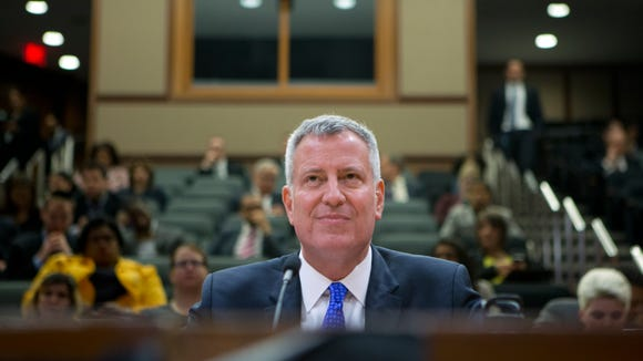 New York City Mayor Bill de Blasio testifies during a state Senate Education Committee hearing on extending mayoral control of city schools on Wednesday, May 4, 2016, in Albany, N.Y. (AP Photo/Mike Groll)