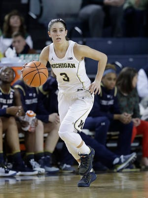 Michigan guard Katelynn Flaherty made a school record 10 3-pointers in Thursday's 89-69 win over Penn State.