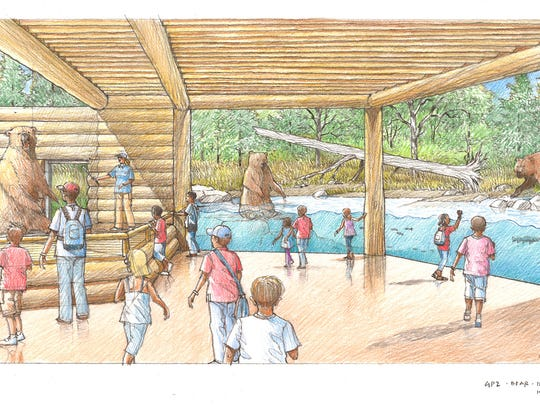 A rendering depicting the upgraded brown bear exhibit at the Great Plains Zoo.