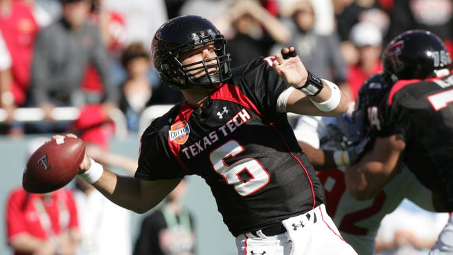 Jan 02, 2009; Dallas, TX, USA; Texas Tech Red Raiders quarterback Graham Harrell (6) throws a pass against the Mississippi Rebels during the 2009 Cotton Bowl Classic at the Cotton Bowl. Mandatory Credit: Tim Heitman-USA TODAY Sports