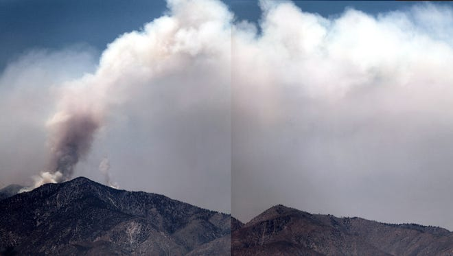 A stitched panoramic photo of the Lake Fire burning east towards HWY 62 on Tuesday.