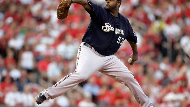 Milwaukee Brewers starting pitcher CC Sabathia throws during the second inning of a baseball game against the St. Louis Cardinals on Wednesday, July 23, 2008, in St. Louis.