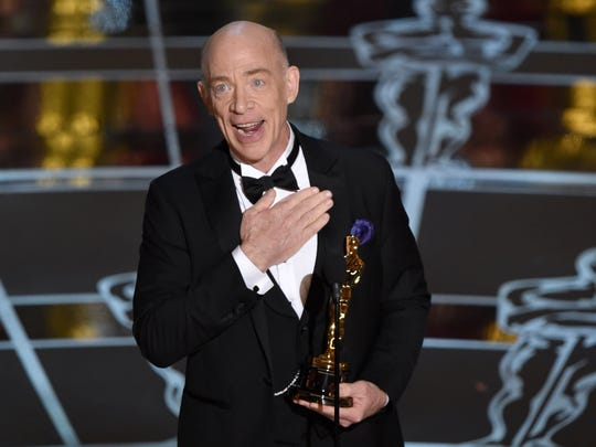 J.K. Simmons accepts the award for best actor in a