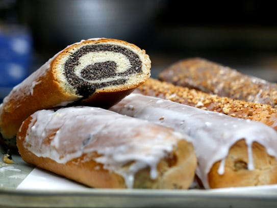 Makowiec, a traditional Polish poppy seed pastry at