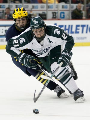 Michigan State's Joe Cox (21) plays against Michigan on March 20, 2015, in Detroit.