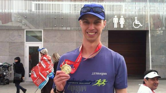 A very happy marathoner.