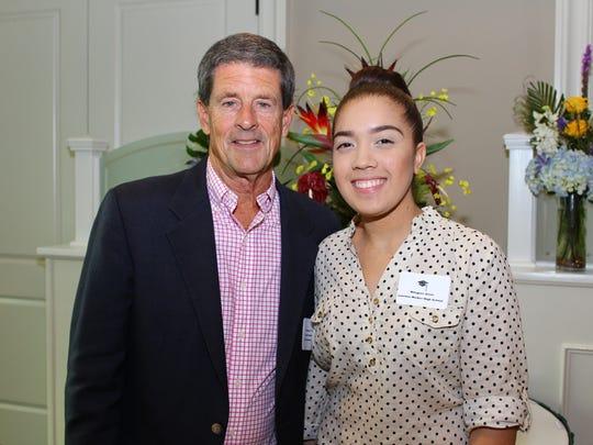 Schuyler Peck, Founders Fund Board member, with  scholarship recipient Milagros Jerez.
