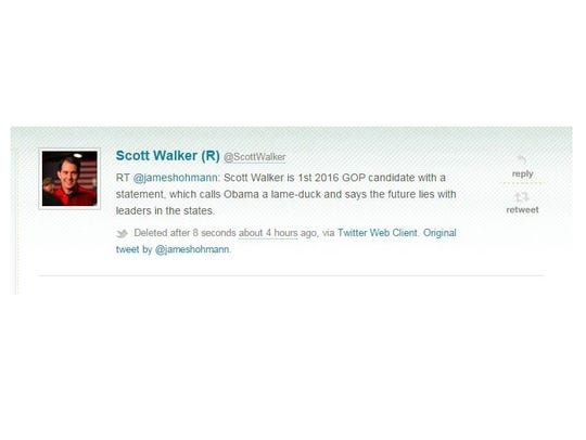 Politwoops recorded this Tweet from @ScottWalker.