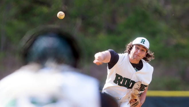 Ridge pitcher Mike Rica delivers against Montgomery in Bernards on April 26, 2016. (Keith Muccilli/ Staff photographer)