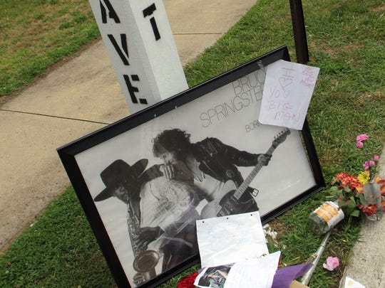 A tribute to the late Clarence Clemons at the corner of 10th Avenue and E Street in Belmar in 2011.