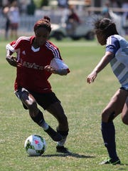 Dribbling away from an opponent during the final is