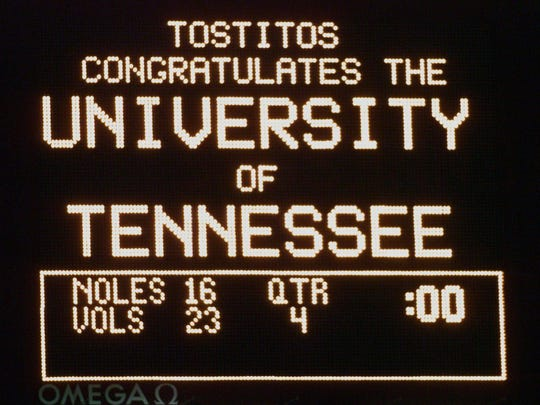 The scoreboard shows the Vols' victory over Florida State in the Fiesta Bowl on Jan. 4, 1999.