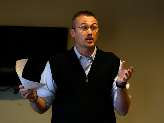 Aztec City Manager Josh Ray talked about the city's efforts to attract new business, its gross receipts taxes and its arterial bypass project  Thursday during a  luncheon at the Microtel Inn & Suites.