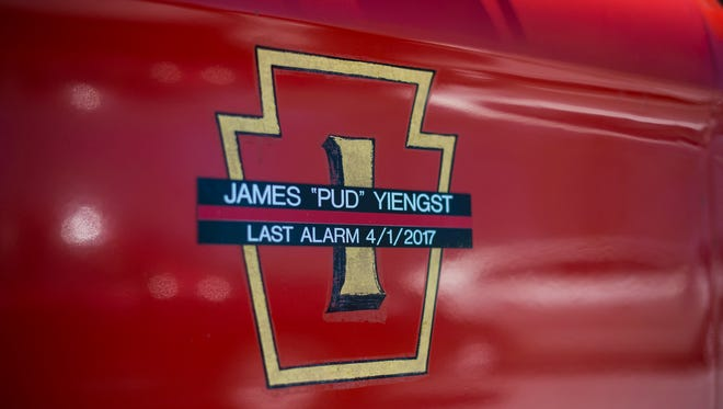Friends, family and fellow firefighters gathered to bury fallen Myerstown firefighter James Yiengst on Saturday, April 8, 2017.Yiengst, a 55-year member of Keystone Hook & Ladder Fire Company No. 1, died on April 1 at the age of 72 in a line-of-duty death. Yiengst fell ill on Friday while responding to a crash that occurred about 5:15 p.m. at East Lincoln Avenue and North Railroad Street in Myerstown, according to the U.S. Fire Administration website.
