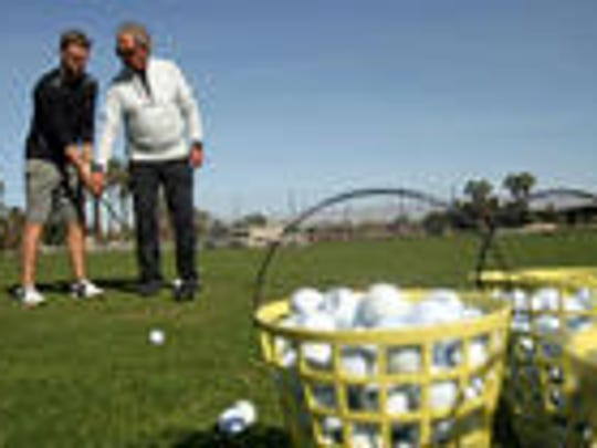 College of the Desert head coach Tony Manzoni worked with players on the range at the school.