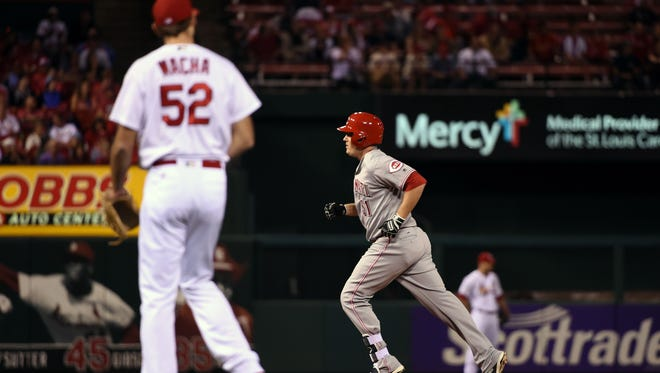 Cincinnati Reds right fielder Steve Selsky (51) runs the bases after hitting a solo home run off of St. Louis Cardinals relief pitcher Michael Wacha (52) during the second inning at Busch Stadium on Sept. 26, 2016.