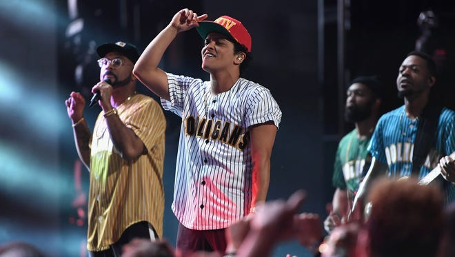 This photo shows Bruno Mars performing at the BET Awards in June.