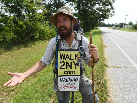 Ryan Ray talks Tuesday about his walk across America.