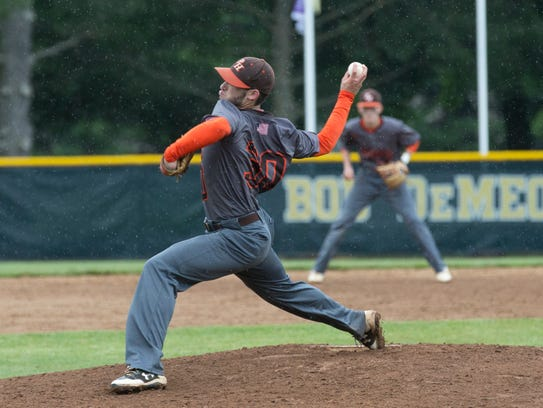 Pascack Hills' Jack Brodsky pitches the eighth inning