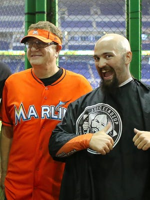 Marlins Man at Marlins Park on July 1, 2015 in Miami.