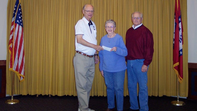 The Mountain Home Elks Lodge 1714 recently donated $1,000 to the Mountain Home Food Basket. The Mountain Home Food Basket is a 100 percent volunteer nonprofit organization dedicated to helping those in need of food assistance. Shown,from left,Don Swanson, Elks president; Kay Owens, Food Basket vice president; and Butch Holligan, Elks grant coordinator.