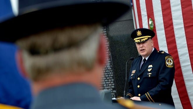 In this file photo, York Area Regional Police Chief Tom Gross talks about the sacrifice of law enforcement officers at the Court of Valor at Prospect Hill Cemetery on May 15,  2014. jpavoncello@yorkdispatch.com