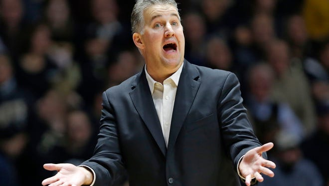 Head coach Matt Painter calls to the officials for foul call against Michigan Thursday, January 7, 2016, at Mackey Arena. Purdue defeated Michigan 87-70.
