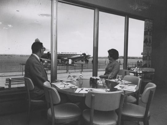 The restaurant/lounge at the airport, around 1955.
