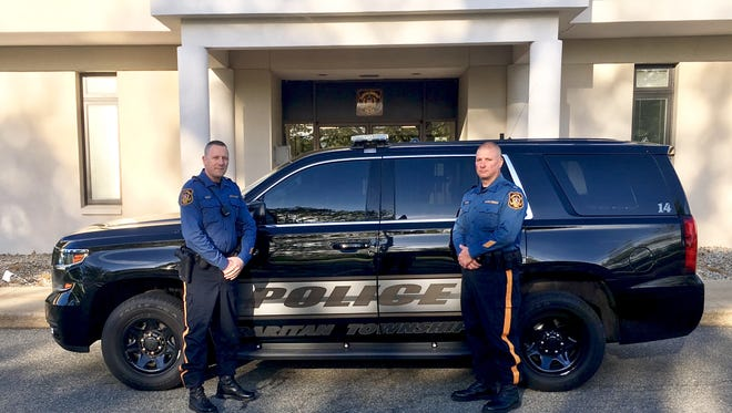 Raritan Township Police Officer Christopher  Vallat (left) and Lt. Ben Donaruma will be honored by the 200 Club of Hunterdon County.