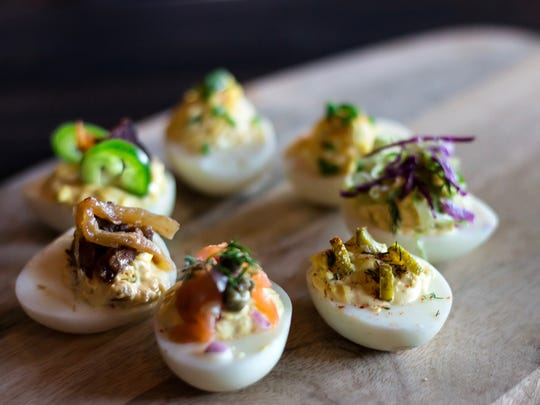 Deviled egg combos (three for $6) include traditional