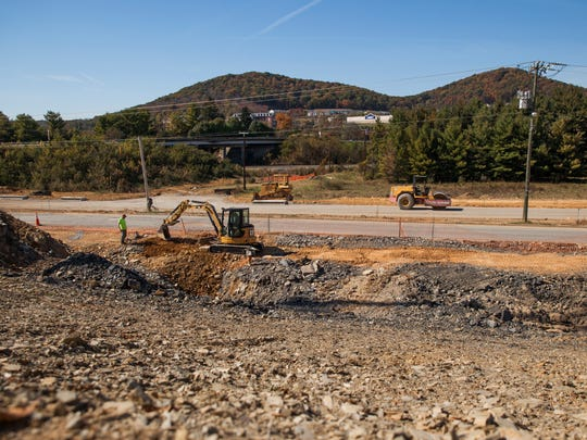 Construction continues at Staunton Crossing on Thursday,