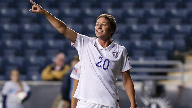 United States forward Abby Wambach (20) gestures from the field during the second half of a women's World Cup Qualifier semifinal soccer match against Mexico at PPL Park on October 24, 2014.