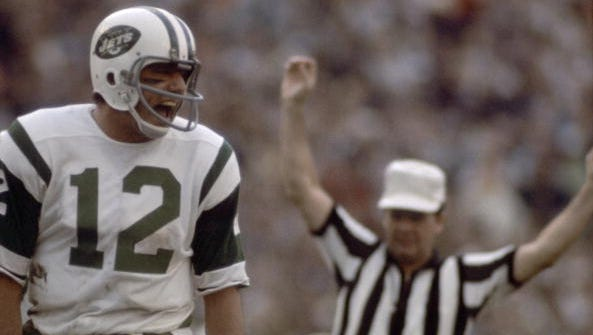 Football: Super Bowl III: New York Jets QB Joe Namath (12) during game vs Baltimore Colts. Miami, FL 1/12/1969