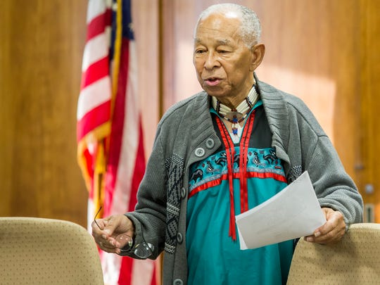 """Chief William H. Daisey of the Nanticoke Indian tribe in Delaware speaks at a committee meeting on the Conrad Schools of Science """"Redskins"""" mascot held at the Red Clay Consolidated School District offices in Elsmere on Monday evening."""