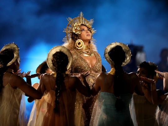 Beyonce performs at the 59th annual Grammy Awards on Sunday, Feb. 12, 2017, in Los Angeles. (Photo by Matt Sayles/Invision/AP)