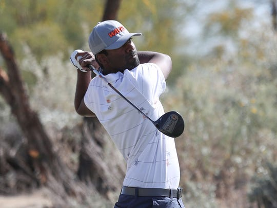 Sahith Theegala of Pepperdine, tees off on 8th hole at of the Greg Norman Course at PGA West during The Prestige college golf tournament at PGA West.
