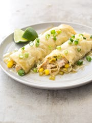 Leftovers from turkey breast cooked in the pot are used to make green chile enchiladas. Cooked turkey meat keeps in the refrigerator up to two days.