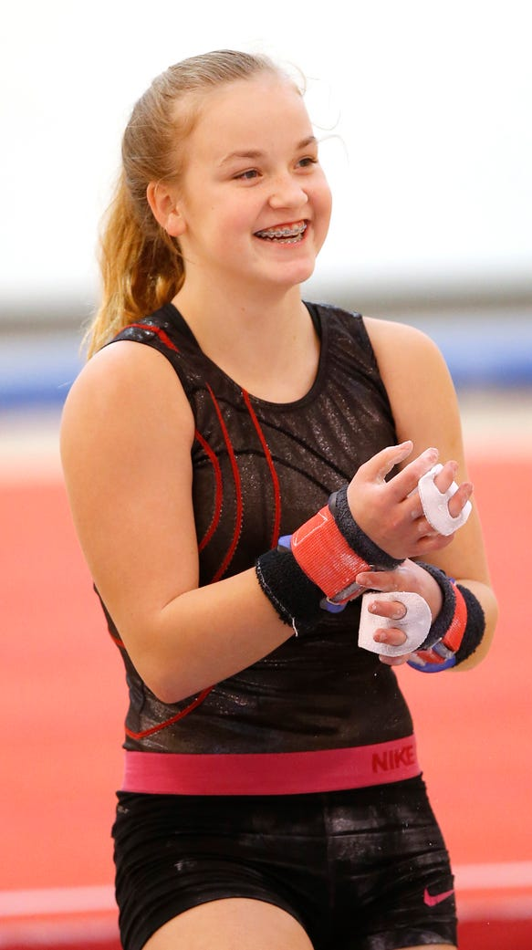 Freshman gymnast Julie-Ann Stephany prepares for practice