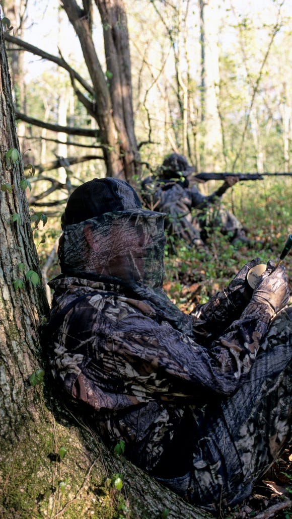 Total camouflage is a good idea when hunting turkeys, because the wily birds don't miss a trick.