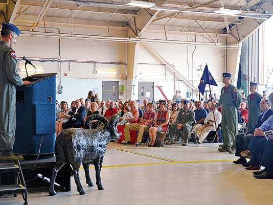 Lt. Col. George R. Watkins addresses the audience and squadron members during the 34th Fighter Squadron activation ceremony July 17 at Hill Air Force Base, Utah. The 34th FS will be the first combat squadron to fly the Air Force's newest fighter aircraft, the F-35A Lightning II.