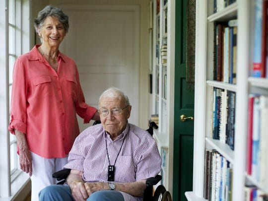 Cornelia and Bill Wolf, parents of Democratic nominee for Pennsylvania governor Tom Wolf, at their home in Mount Wolf in 2014. The couple met at a bridge game in 1942. Several years later, after Bill served during World War II, he called and asked her on a date.