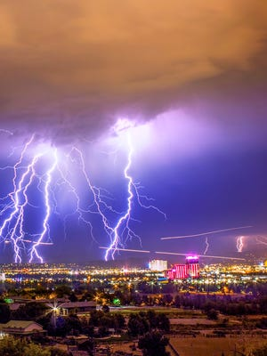 A photo showing a lightning storm over Reno.