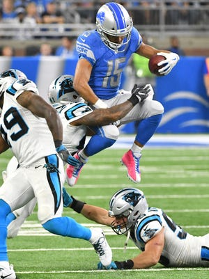Lions wide receiver Golden Tate has 36 catches for 363 yards and two TDs.