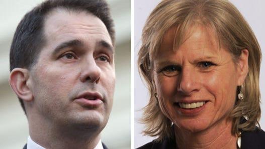 Wisconsin governor candidates: Republican incumbent Scott Walker, left, and Democratic challenger Mary Burke.