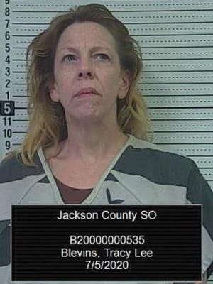 Tracy Lee Blevins, 48, of Topeka, was arrested Sunday by the Jackson County Sheriff's Office in connection with possession of methamphetamine, possession of marijuana, possession of drug paraphernalia, interference with law enforcement, identity theft and theft.