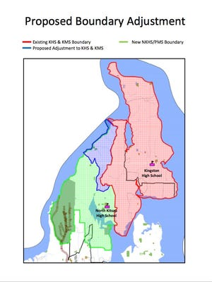 A plan before the North Kitsap School Board on Thursday would move more than 150 middle and high school students now attending school in Poulsbo to Kingston schools. The red line and pink shaded area shows the existing Kingston High and Middle School boundaries. The blue line and shaded area shows where students who now attend schools in Poulsbo would be shifted to Kingston schools. The green line and shaded area shows the new North Kitsap High School and Middle School boundaries and service area, as proposed.