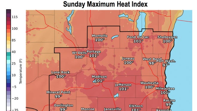 On Sunday, heat indices— the combination of high temperatures and humid conditions — could top 101 degrees in Milwaukee and Madison.