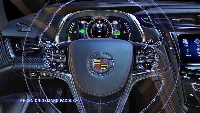 Cadillac ELRâjQuery17208367801052518189_1390714895809s paddle shifters enable the driver to temporarily regenerate energy and store it as electricity in the battery pack for later use.