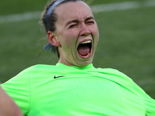 Indian Hill's goalkeeper Kate Marrs reacts after the