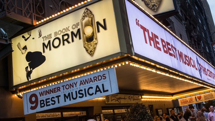 "A marquee for ""The Book of Mormon"" is shown last spring"